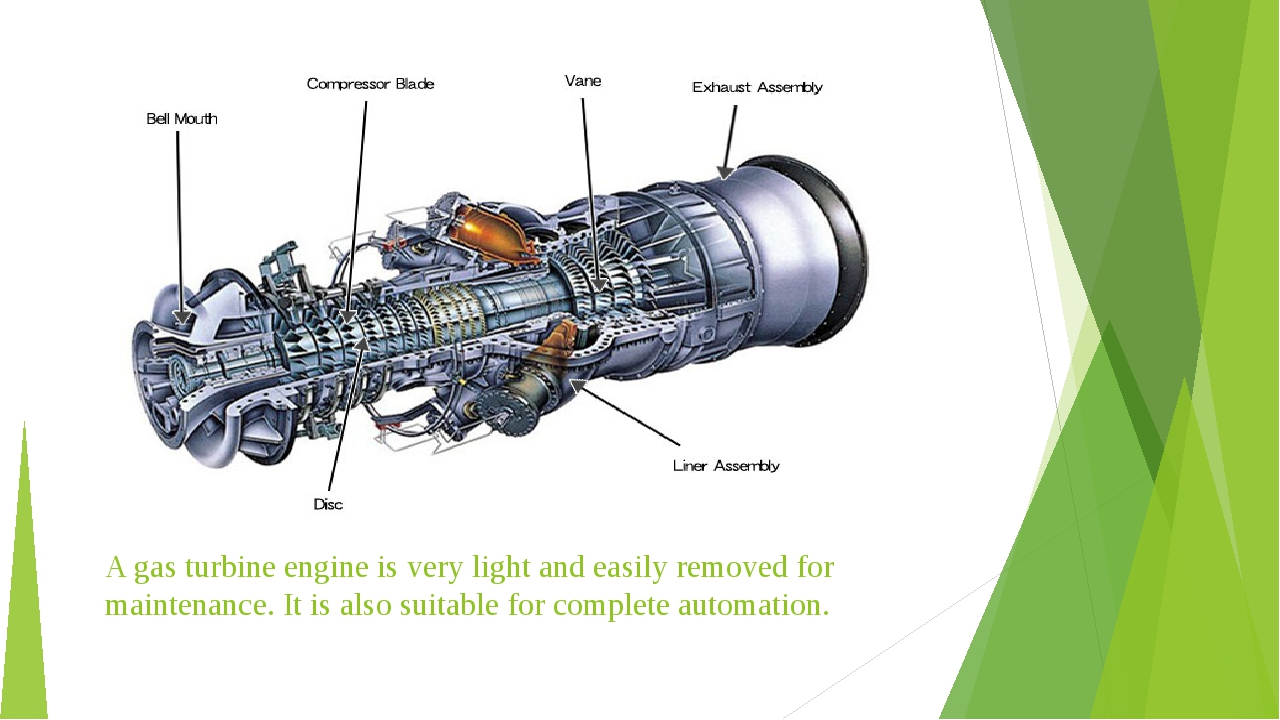 A gas turbine engine is very light and easily removed for maintenance. It is...