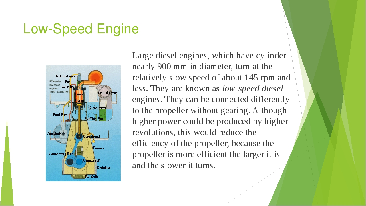 Low-Speed Engine Large diesel engines, which have cylinder nearly 900 mm in d...