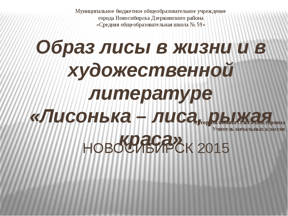 Муниципальное бюджетное общеобразовательное учреждение города Новосибирска Дз...