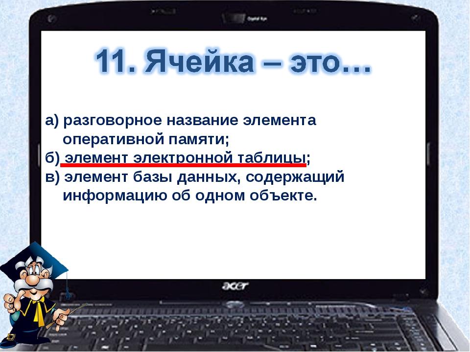 а) разговорное название элемента оперативной памяти; б) элемент электронной...