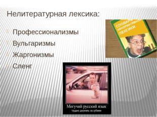 Нелитературная лексика: Профессионализмы Вульгаризмы Жаргонизмы Сленг