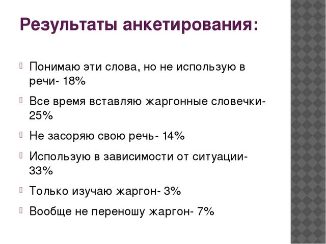 Результаты анкетирования: Понимаю эти слова, но не использую в речи- 18% Все...