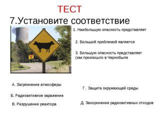 ТЕСТ 7.Установите соответствие 1. Наибольшую опасность представляет 2. Большо