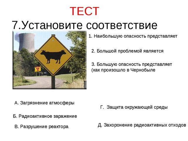 ТЕСТ 7.Установите соответствие 1. Наибольшую опасность представляет 2. Большо...