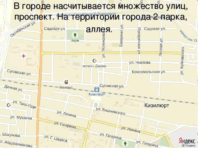 В городе насчитывается множество улиц, проспект. На территории города 2 парка...