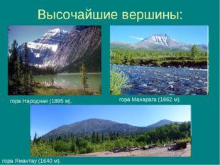 Высочайшие вершины: гора Народная (1895м). гора Ямантау (1640м). гора Манар