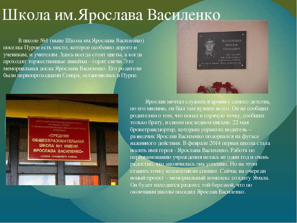 Школа им.Ярослава Василенко В школе №1 (ныне Школа им.Ярослава Василенко) по...
