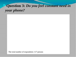Question 3: Do you feel constant need in your phone?