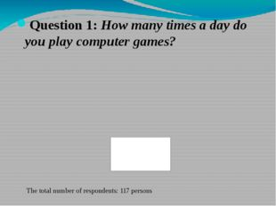 Question 1: How many times a day do you play computer games? The total number
