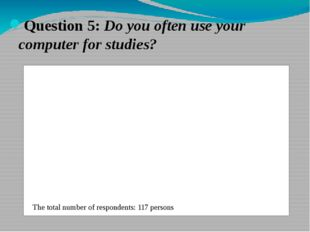 Question 5: Do you often use your computer for studies? The total number of r
