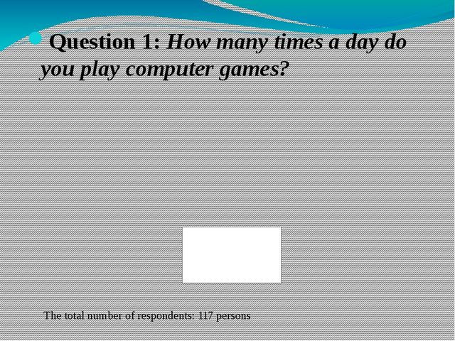 Question 1: How many times a day do you play computer games? The total number...