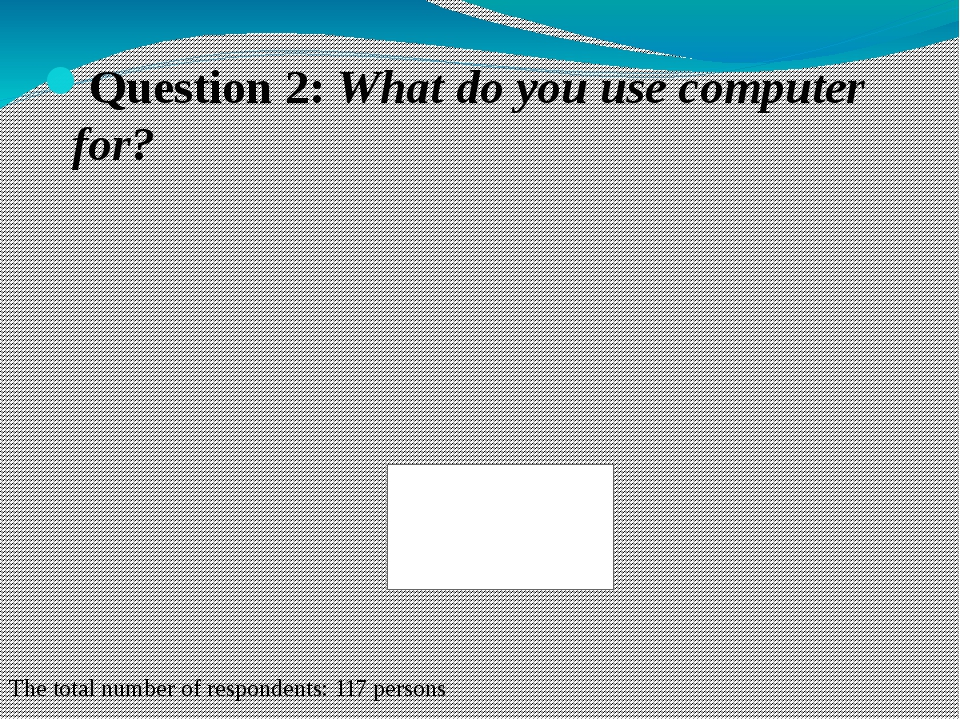 Question 2: What do you use computer for? The total number of respondents: 11...