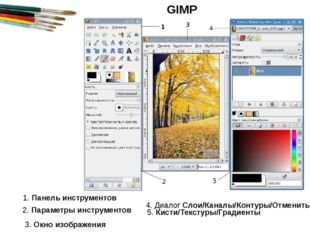 1. Панель инструментов 2. Параметры инструментов 3. Окно изображения 4. Диало