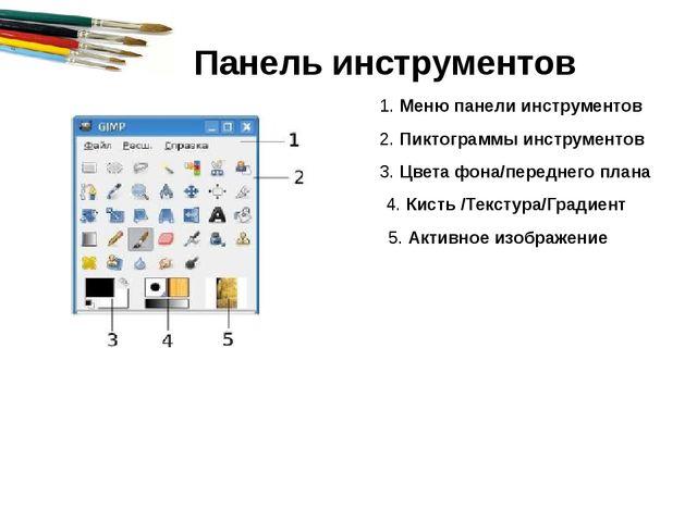 1. Меню панели инструментов 2. Пиктограммы инструментов 3. Цвета фона/передне...