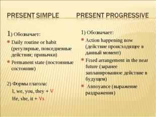 1) Обозначает: Daily routine or habit (регулярные, повседневные действия; при