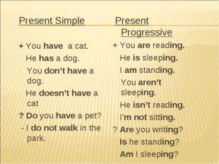 Present Simple + You have a cat. He has a dog. You don't have a dog. He doesn