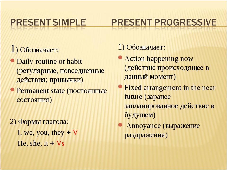 1) Обозначает: Daily routine or habit (регулярные, повседневные действия; при...