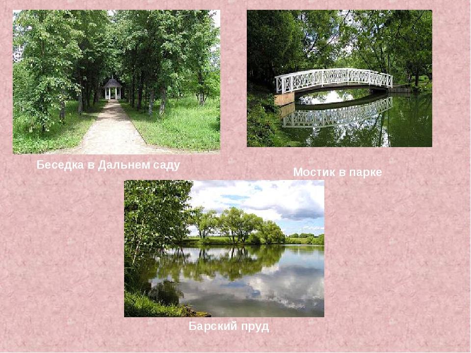 Мостик в парке Беседка в Дальнем саду Барский пруд
