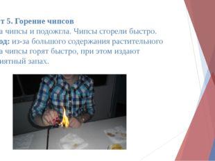 Опыт 5. Горение чипсов Взяла чипсы и подожгла. Чипсы сгорели быстро. Вывод: и