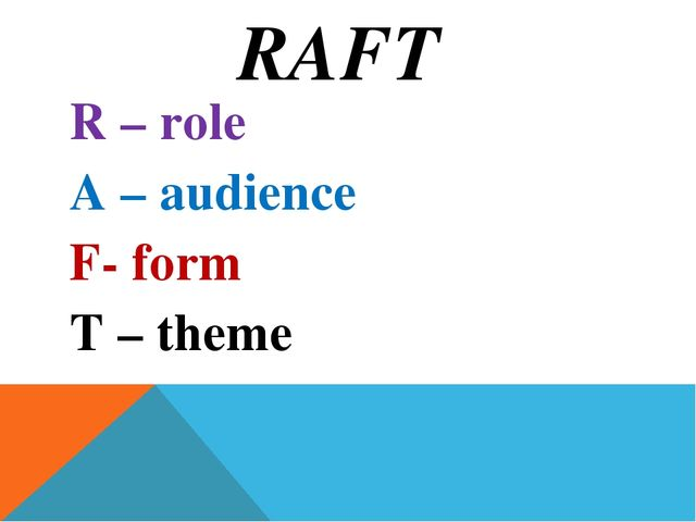 RAFT R – role A – audience F- form T – theme