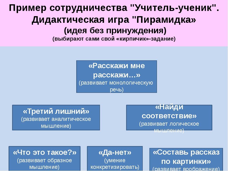 """Пример сотрудничества """"Учитель-ученик"""". Дидактическая игра """"Пирамидка» (идея..."""