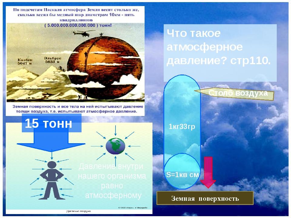 Что такое атмосферное давление? стр110. Земная поверхность 1кг33гр S=1кв см...