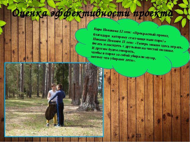 Оценка эффективности проекта Кира Новикова 12 лет: «Прекрасный проект, благо...