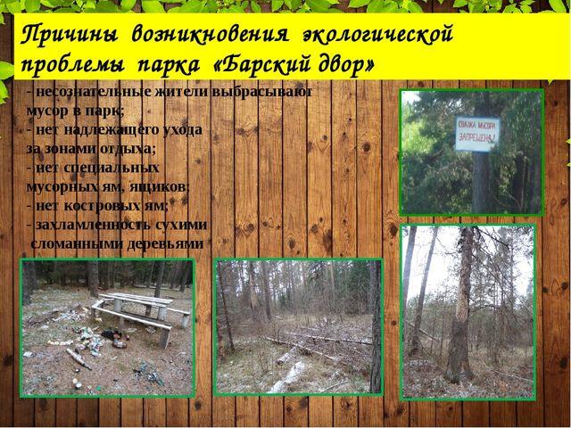. Причины возникновения экологической проблемы парка «Барский двор» - несозн...