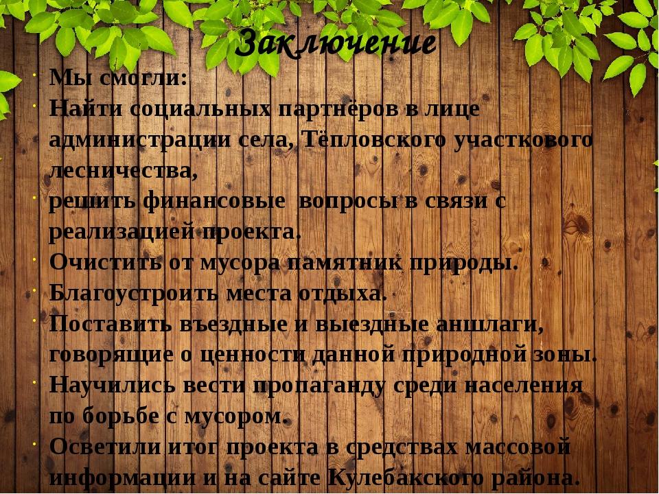 Заключение Мы смогли: Найти социальных партнёров в лице администрации села, Т...