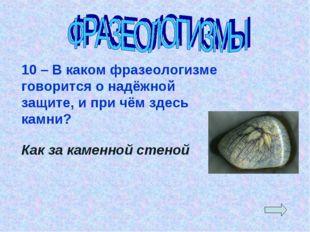 10 – В каком фразеологизме говорится о надёжной защите, и при чём здесь камни