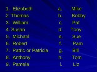 1. Elizabeth a. Mike 2. Thomas b. Bobby 3. William с. Pat 4. Susan d. Tony 5.