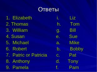 Ответы 1. Elizabeth i. Liz 2. Thomas h. Tom 3. William g. Bill 4. Susan e. Su