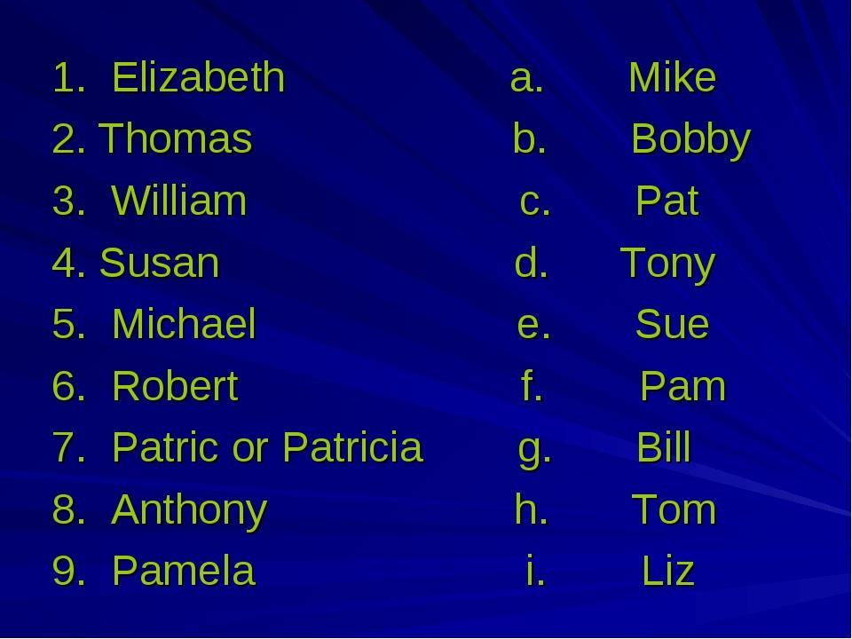1. Elizabeth a. Mike 2. Thomas b. Bobby 3. William с. Pat 4. Susan d. Tony 5....