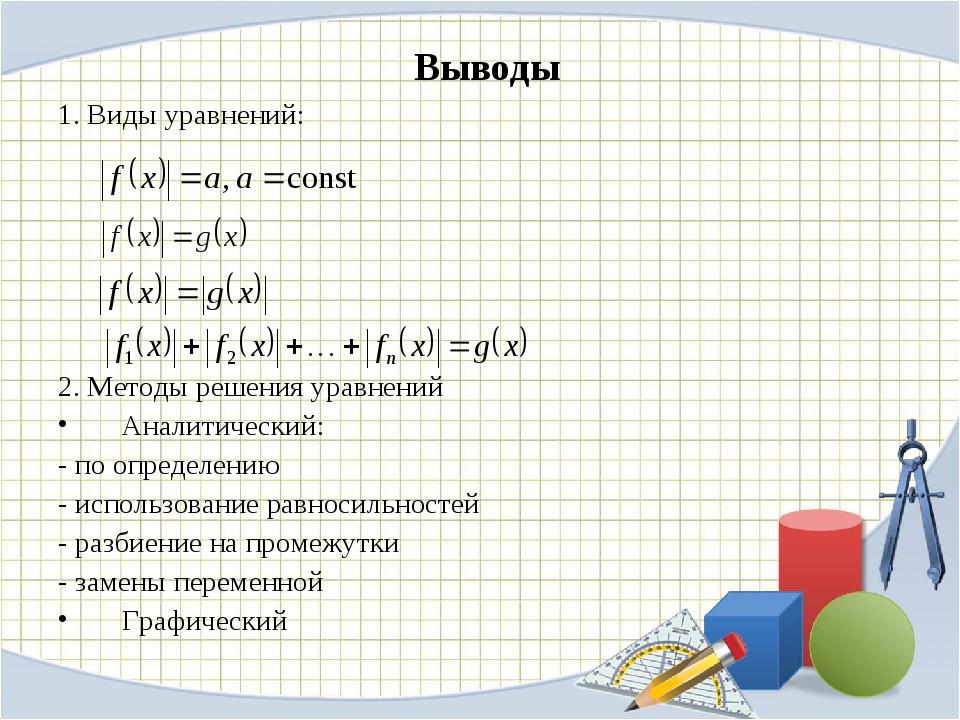 Выводы 1. Виды уравнений: 2. Методы решения уравнений Аналитический: - по опр...