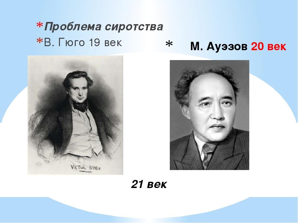 М. Ауэзов 20 век Проблема сиротства В. Гюго 19 век 21 век