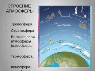 СТРОЕНИЕ АТМОСФЕРЫ: Тропосфера Стратосфера Верхние слои атмосферы (мезосфера,