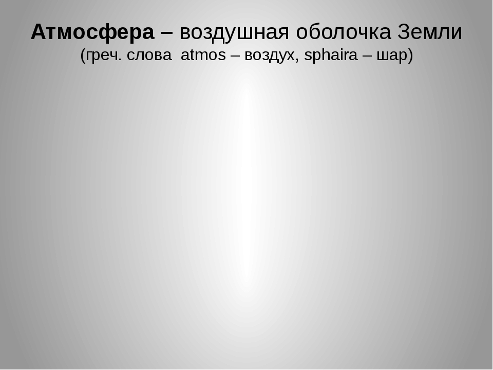 Атмосфера – воздушная оболочка Земли (греч. слова atmos – воздух, sphaira – ш...