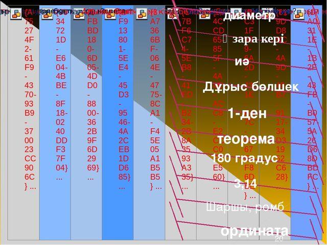 диаметр Өзара кері Дұрыс бөлшек иә 1-ден теорема 180 градус 3,14 Шаршы, ромб...