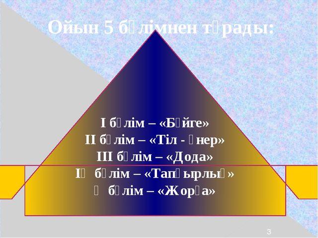 Ойын 5 бөлімнен тұрады: І бөлім – «Бәйге» ІІ бөлім – «Тіл - өнер» ІІІ бөлім...