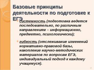 Базовые принципы деятельности по подготовке к ЕГЭ системность (подготовка вед