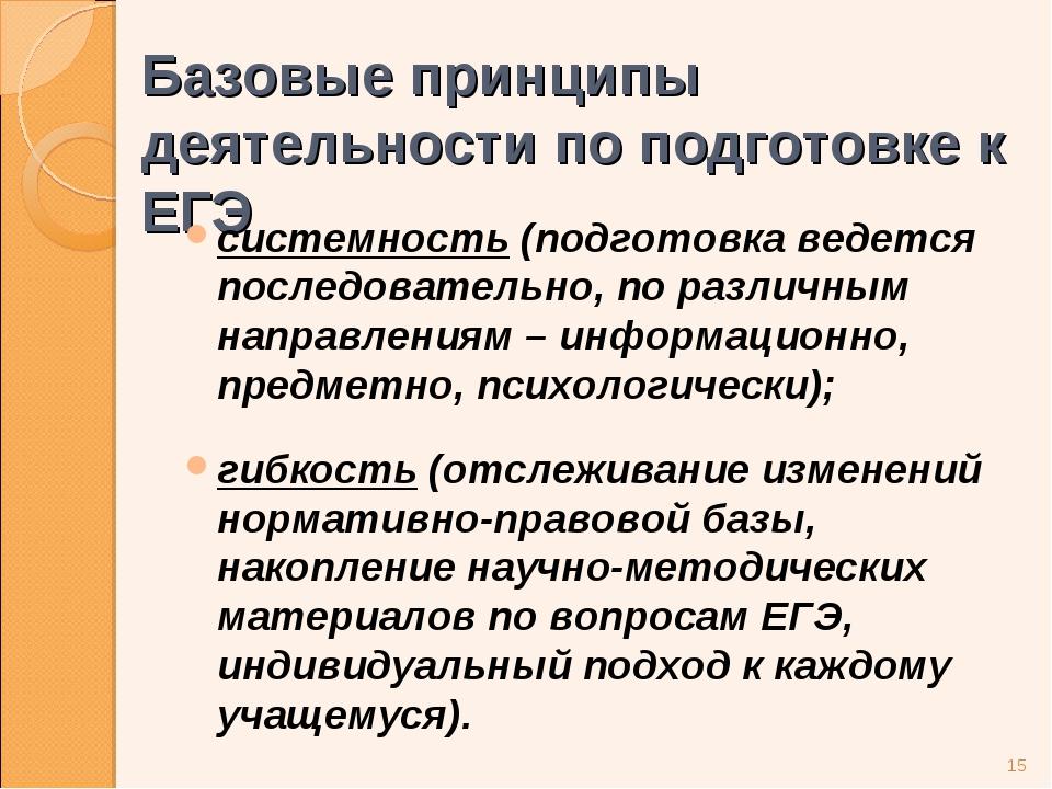 Базовые принципы деятельности по подготовке к ЕГЭ системность (подготовка вед...