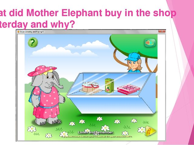 What did Mother Elephant buy in the shop yesterday and why?