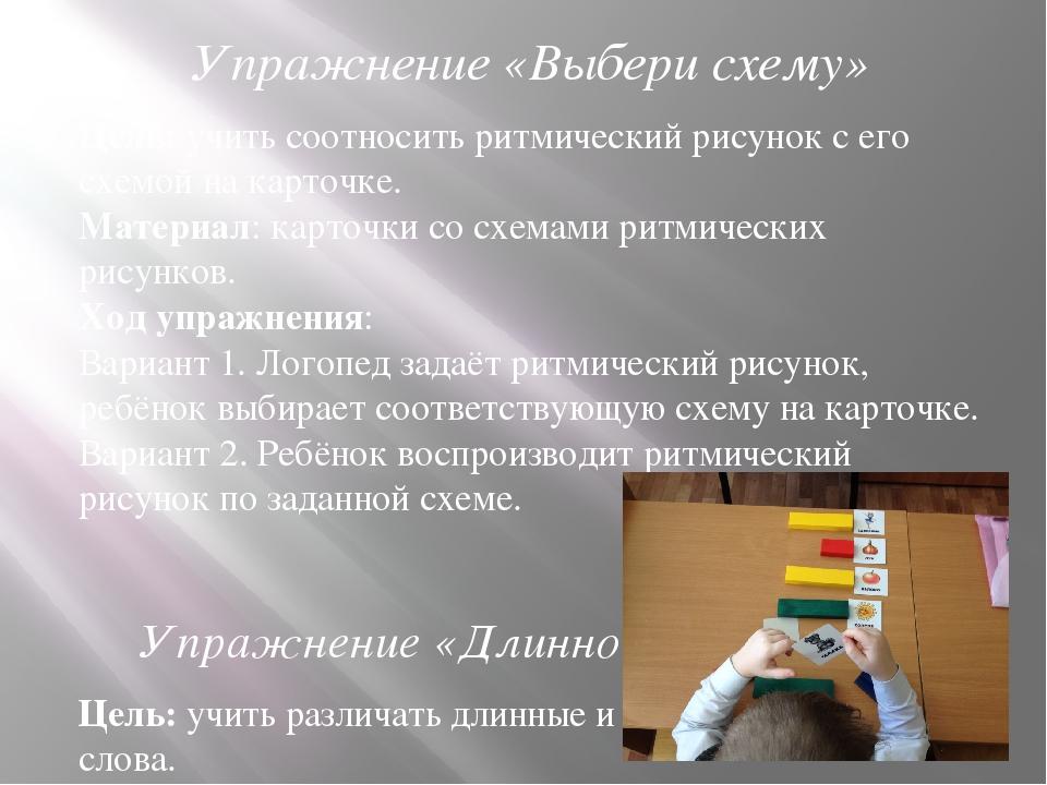 Упражнение «Выбери схему» Цель: учить соотносить ритмический рисунок с его сх...