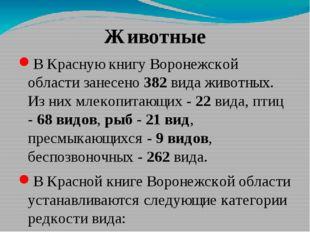 Животные В Красную книгу Воронежской области занесено 382 вида животных. Из н