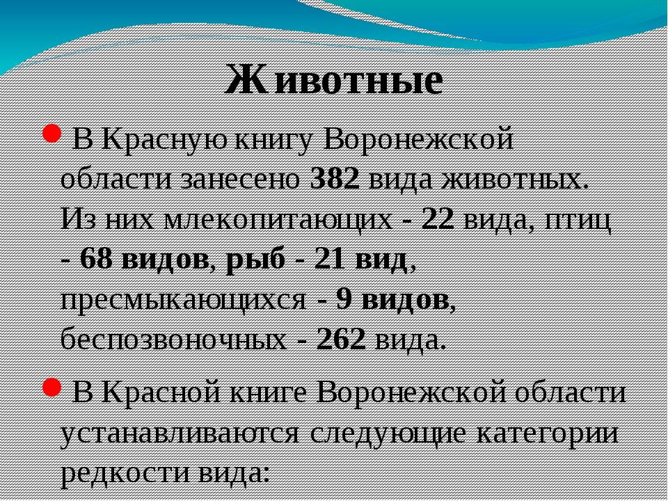 Животные В Красную книгу Воронежской области занесено 382 вида животных. Из н...