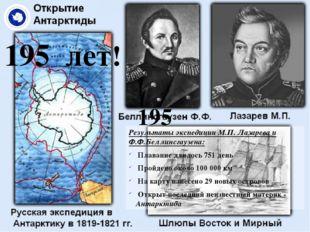 195 лет! Результаты экспедиции М.П. Лазарева и Ф.Ф.Беллинсгаузена: Плавание д