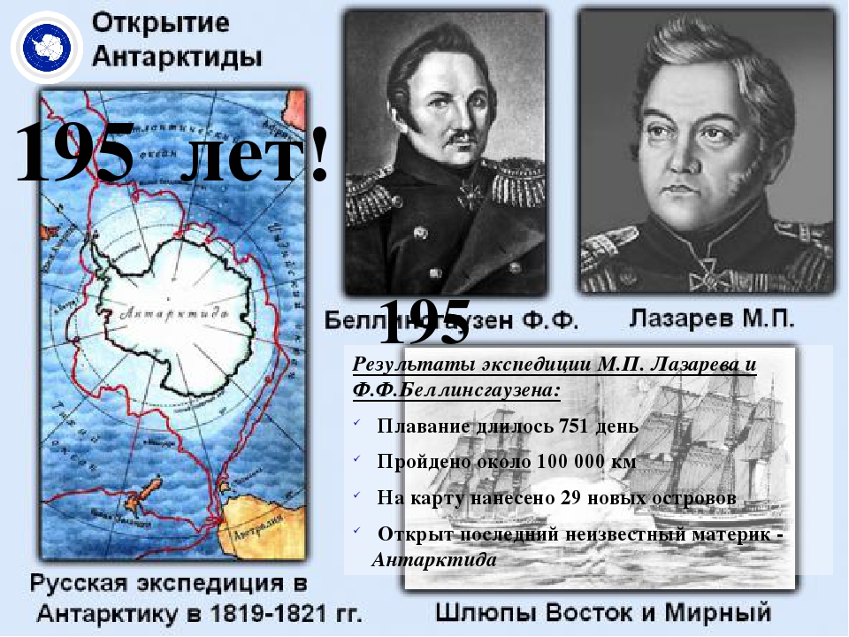 195 лет! Результаты экспедиции М.П. Лазарева и Ф.Ф.Беллинсгаузена: Плавание д...