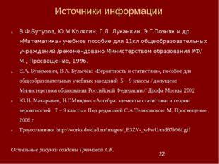 Источники информации В.Ф.Бутузов, Ю.М.Колягин, Г.Л. Луканкин, Э.Г.Позняк и др