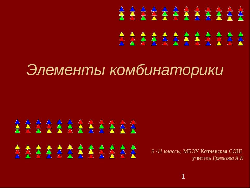 Элементы комбинаторики 9 -11 классы, МБОУ Кочневская СОШ учитель Грязнова А.К
