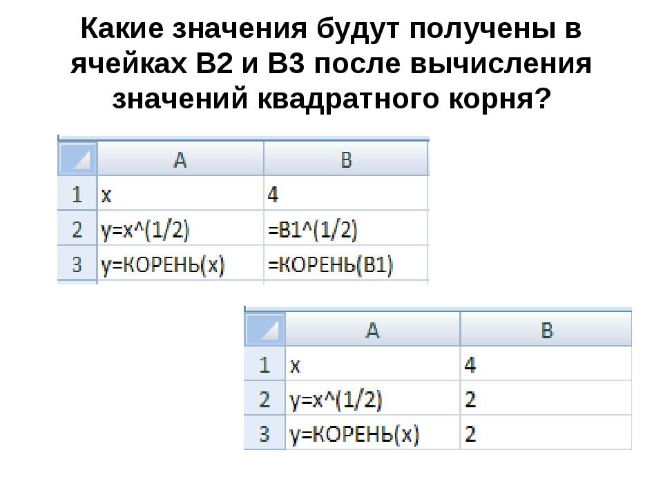 Какие значения будут получены в ячейках В2 и В3 после вычисления значений ква...